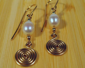 Gold-filled Freshwater Pearl Swirl Earrings
