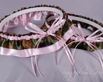 Wedding Garter Set in Pale Pink and Camo Print Satin with Swarovski Crystals