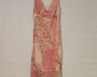 80's Up Front Women's Dress, Pink Dress made in USA, Size 7, Floral dress