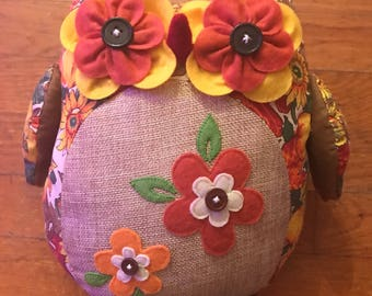 Fall Flower Burlap owl