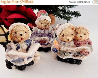 Teddy bear christmas tree ornament cold cast resin figurine caroling bears figurines cold cast resin miniatures set of three vintage christmas collectible home decor altavistaventures Images