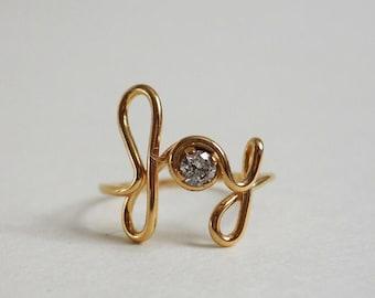 Joy Ring 14K Gold Filled Word Art