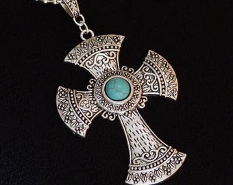 Southwest style silver and turquoise cross, necklace / pendant.
