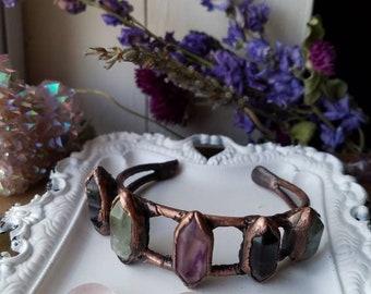 Small wrist fluorite copper bracelet
