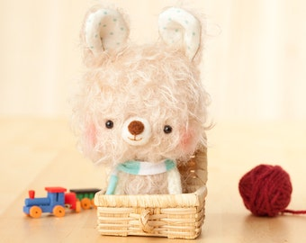 bunny plush toy, small softie, bunny plushie, stuffed animal - made to order- Milu -