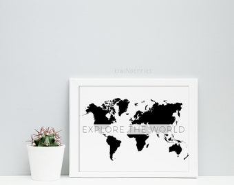 Explorer map print etsy explore the world print world map print monochrome map wall art world map wall art printable world map gift for travelers gumiabroncs Image collections