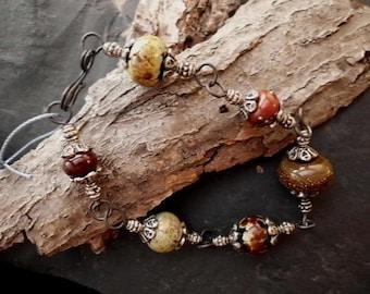 Handmade Link Bracelet. Lampwork Glass Bead n Blackened Steel. Browns Deep Reds. LWB-028