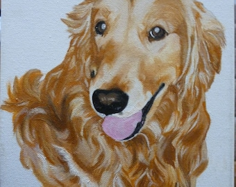 Golden Retriever Pet Memorial Original Oil Painting 8 x 10 on Wrapped Canvas Provide Picture by Pigatopia
