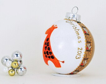Baby's First Christmas - Giraffe glass ornament