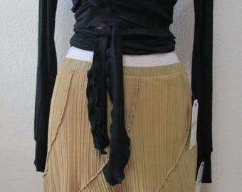 Chiffon oatmeal color long skirt or tube dress plus made in USA (v151)