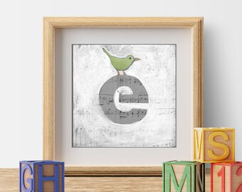 Wall Letters, Children's Decor, Kid's Room Art, Nursery Prints, Cute Bird Prints, Letter e, ABC Letters, Wall Initials, Monogram Letters