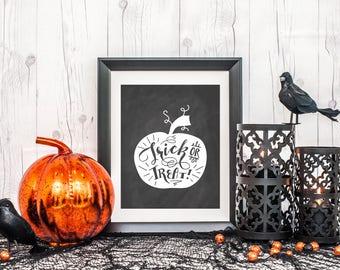 Halloween Printable, Wall Decor, Digital Print, Trick or Treat Printable, Pumpkin, Halloween Wall Decor, Black and White, Instant Download