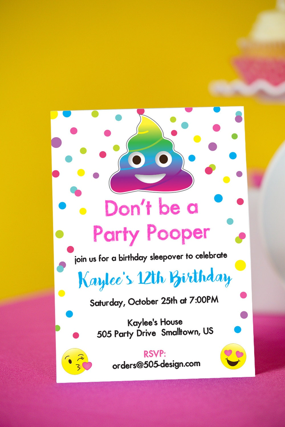 Emoji party pooper invitation instant download printable zoom filmwisefo Image collections