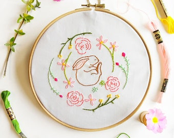 Hand Embroidery Pattern - She Sleeps in The Meadows - Bunny Rabbit PDF - Instant Download