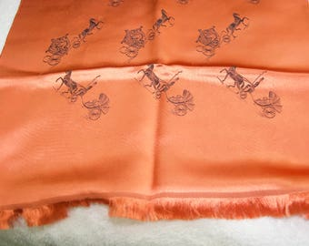 Vintage Orange Horse and Carriage Silk Long Scarf