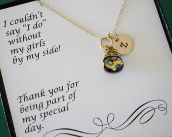 8 Personlized Bridesmaid Gifts, Initial Jewelry, Hand Stamped Necklace, Bridal Party, Gemstone and Initial, Gift Set, Gold, Wedding