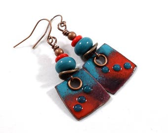 Handmade Turquoise and Red Earrings, Enameled Earrings, Artisan Earrings, Copper Earrings, Square Earrings, Boho Earrings,Small, AE190