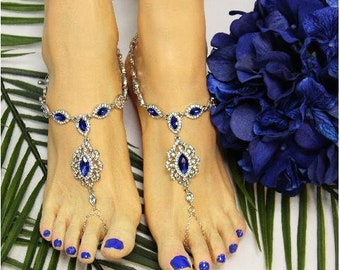 Barefoot Sandals, Sapphire, Blue, Royal, footless sandals, wedding shoes, beach wedding, feet jewelry, foot jewelry, rhinestones, bridal,