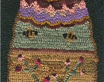 Hooked Rug Bee Skep Hive and Flowers