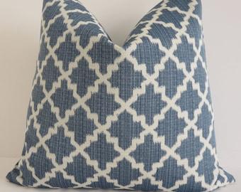 Ascot Blue Geometric Pillow Covers- Blue Pillow Covers- Morrocan pillow Covers- Morrocan Blue Pillows