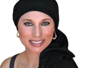 Turban Diva Black or Navy Cotton Gauze Turban Hat, Head Wrap, Chemo Hat, Alopecia Scarf, Black Turban, Hat & Scarf Set 102-20