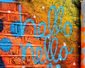 Street Art Photography - London Photography Print - Hello Graffiti