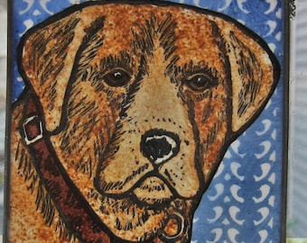Yellow Lab with collar Stained Glass Dog Suncatcher JRN212
