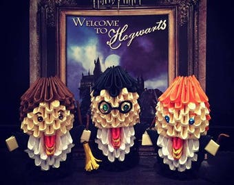 Harry Potter, Hermione Granger, Ron Weasley 3D Origami