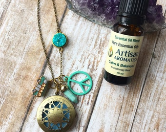 Peace & Love Diffuser Collection Necklace Turquoise