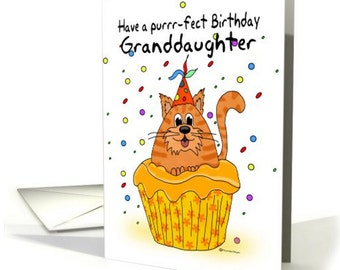 granddaughter, birthday card,  with ginger cupcake cat, Ginger Cupcake Cat Birthday Card