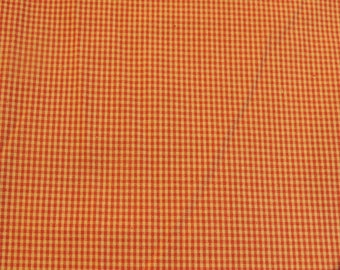 Beige and Red Plaid cotton fabric coupon