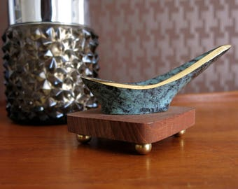 Mid century modern brass and teak pipe rest - pipe stand - pipe holder - vintage smoking - R0239
