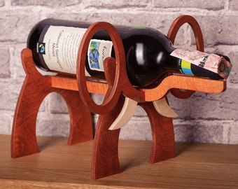 Wooden Wine Rack Elephant Standing Wine Bottle Holder Wine Case Interior Design Wine Accessories Wine Gifts For Wine Lovers