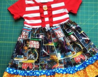 Star Wars dress girls dress Comic book movie dress Disney Last Jedi Darth Vader birthday party ruffle dress custom boutique Momi boutique