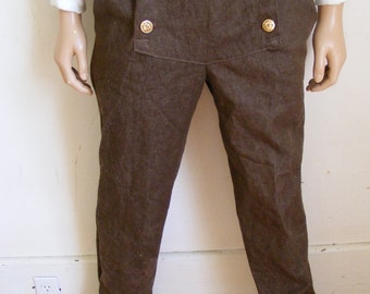 Steampunk Men's Pants button up Denim Herman's Trousers Britches