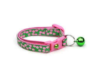 Polka Dot Cat Collar - Pink Dots on Green - Breakaway Cat Collar - Kitten or Large size