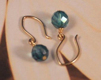 Aqua Aura, Gold Filled Simple Drop Earrings