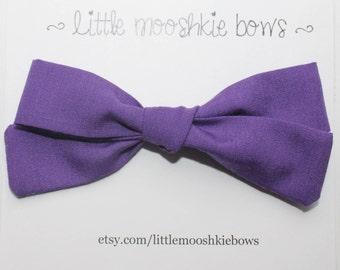 Hand Tied Gracie bow ~ Purple