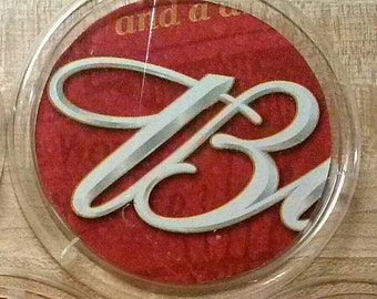 "Set of 4 upcycled beer coasters: Budweiser ""B"" with red"