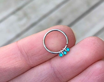 Triple Teal Opal Daith Earring Rook Piercing Hoop