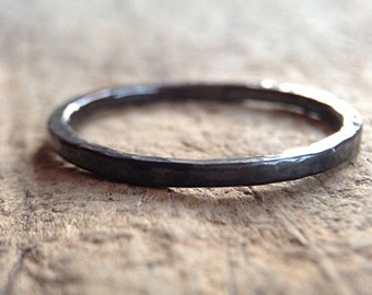Black Silver Skinny Ring, Black Ring, Textured Ring, Hammered Ring, Stacking Ring, Ring Band, Bohemian Ring, Bohemian Jewelry