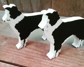 Hand Painted Wooden Collie, Border Collie Dog Ornament, Collie Decoration, Collie Ornament, Sheepdog, Dog lover gift, Collie Keepsake