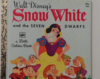 Vintage 1977 Walt Disney's Snow White And The Seven Dwarfs Little Golden Book D66