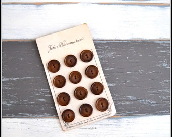 Vintage John Wanamaker Buttons on Button Card / Brown Button Lot / Vintage Buttons