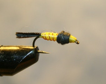 Fly Fishing Flies - Yellow Thread Hard Body - Copper Wire Ribbing -  Peacock Herl Tail - Black Dubbing - Feathery tail - Michigan-Gift