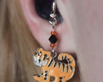 Tiger Hearing Aid Charms or Pierced Earrings