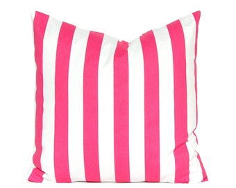 Hot Pink Pillow Cover - Stripe Pillow Cover - Throw Pillow Cover - Hot Pink and White Stripe - Decorative Pillow Cover - Nursery Decor