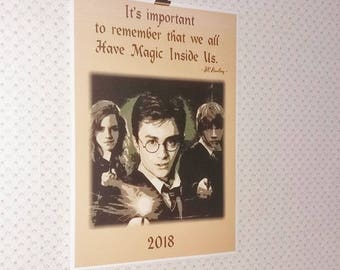 Harry Potter Printed Calendar poster A4, 2018 wall montly calendar, 12 pages.