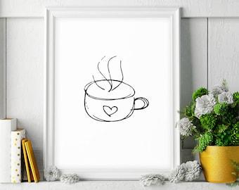 Coffee Print, 24x36 Printable Art, Kitchen Art, Black and White Art Sketch, Kitchen Decor, Coffee Decor, Minimalist Poster, Digital Download