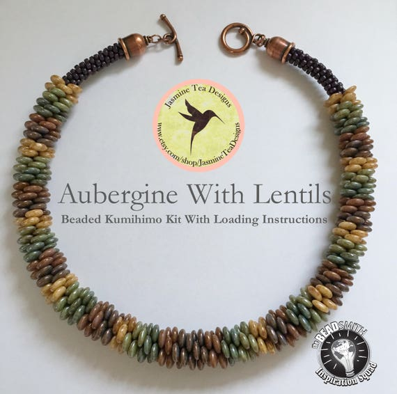 Aubergine With Lentils Beaded Kumihimo Necklace, A Fully Beaded Yatsu Kongoh Gumi Necklace With Lentils And Seed Beads, Beaded Kumihimo Kit